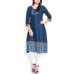 Knee Long Round Neck Ladies Cotton Kurti, Size: XXL