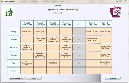 college timetable