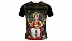 FS Half Lord Ganesh Printed T Shirts, Size: Medium