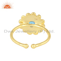 Round Designer Gold Plated 925 Silver Blue Topaz Gemstone Ring Jewelry
