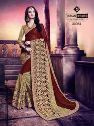 Indian Women Maroon And Gold Marble Chiffon and Net Saree