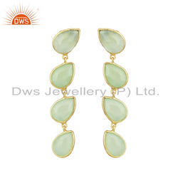 Prehnite Chalcedony Gemstone Gold Plated 925 Silver Dangle Earrings