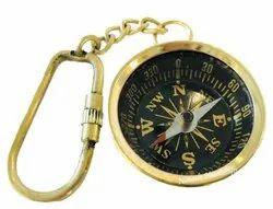 Antique Brass Campass Key Chain