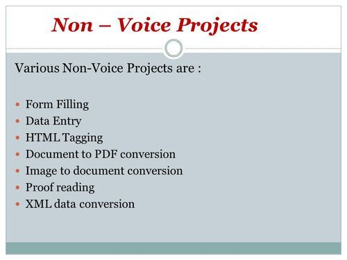 Data Entry Process Business and Non Voice Projects Service Provider
