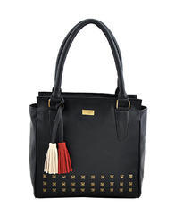 Black Synthetic Leather Handbag