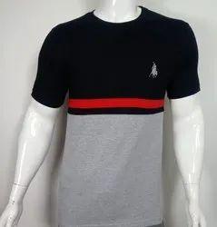 Cut & Sew Round Neck Half Sleeve T Shirt