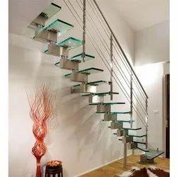 Straight Run Stainless Steel Stairs