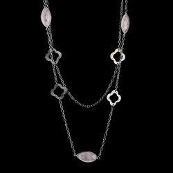 Black Rhodium Finish Rutilated Stone Women Charm Necklace