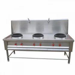 Stainless Steel 3 Chinese Three Burner Range, For Restaurant