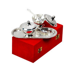 Traditional silver plated brass bowl set
