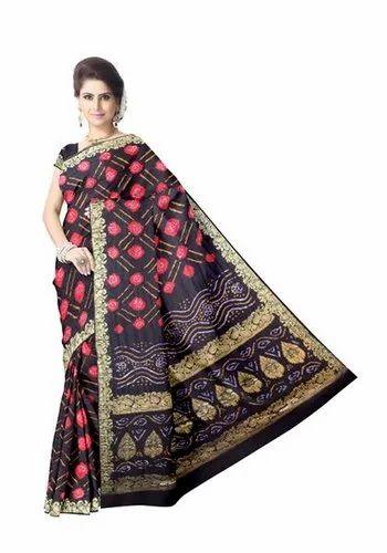Black And Red Color Gaji Silk Bandhani Saree
