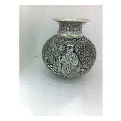White Metal Copper Radha Krishna Kalash