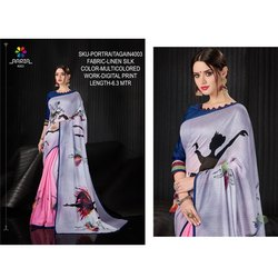 Rachna Linen Silk Digital Printed Portrait Again Catalog Saree For Women 3