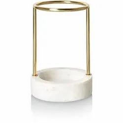 Transparent Overseas White and Golden Marble Brass Toothbrush Holder