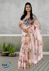 Silk Linen Saree, Hand Made, 6.3 m (with blouse piece)