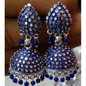 Silver Plated Blue Antique Jhumki