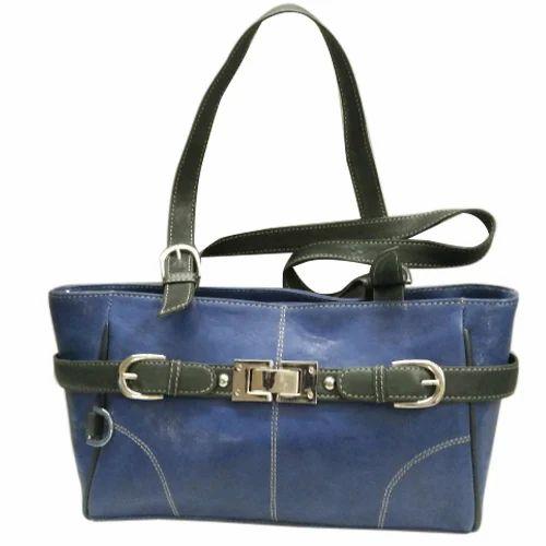 be8a3fd8a5d4 Blue And Black Ladies Short Handbag