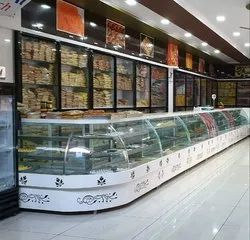 Stainless Steel 304,Glass Curved,Rectangular LG Corian Sweet Display Counter, Warranty: 1 Year, 0.5 Unit Per Hour