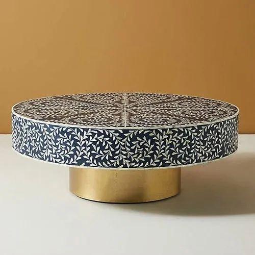 Modern Black Bone Inlay Illusion Stripe Design Round Coffee Table Rs 26500 Piece Id 21987077962