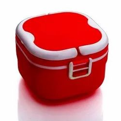 Plastic Designer Red And White Insulated Lunch Box, For School
