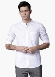 Cotton Riplon Plain White Casual Shirt, Size: 42