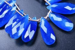 Cat's Eye Effect AAAA 3 Pair 10x25mm Neon Blue Fire Opal Faceted Pear Briolette Beads