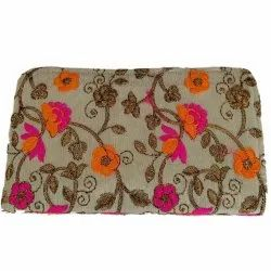 Floral Embroidered Book Design Clutch
