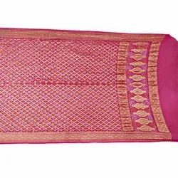 All Over Pink Color Janglow Design Banarasi Georgette Bandhani Dupatta