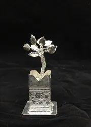 White Metal Tulsi Plant