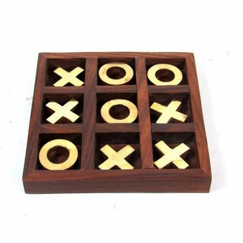 """Brown Square Tic Tac Toe Wooden Games Box, Size: 5""""x5"""" Inch"""