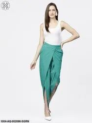 Nayo Green Solid Aqua Ankle Length Cotton Tulip Pant
