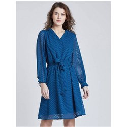 Chiffon Blue Ladies Party Wear Short Dress, Full Sleeves
