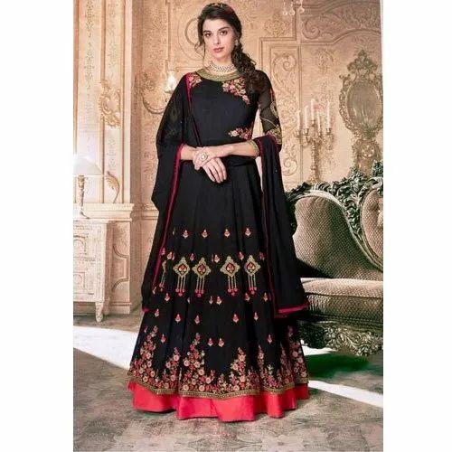 Ladies Black Party Wear Double Layer Anarkali Suit