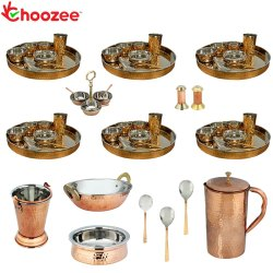 Choozee - Set of 6, Stainless Steel Copper Thali Set with Serveware and Copper Hammered Jug (58 Pcs)