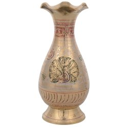 Brass Minakari Pot Peacock Design Show Piece L2.5 x W2.5 x H5.5