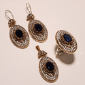 Trendy Blue Stone Ring Pendant Set