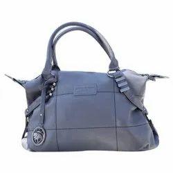 Grey Leather Ladies Handbag
