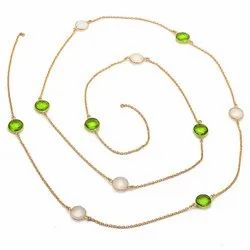 Milky Chalcedony & Peridot  Gemstone Necklace