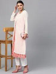 Cotton White Striped Kurta With Muslin Jacket, Size: XS-7XL