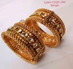 Golden Copper Kundan Bangles for Jewelry
