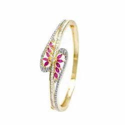 Round Golden Designer Artificial Pink Zircon Kada