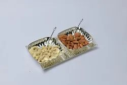 Silver Plated Tray with 2 Square Bowls- TS1006
