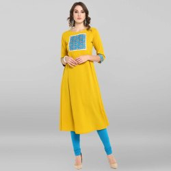 Yellow Poly Crepe Kurta(JNE3398)