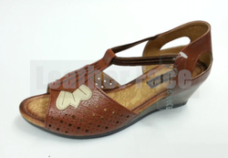 Women Leather Face - Heeled Roman Sandals
