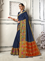 Stunning Navy Blue Colored Party Wear Chanderi Cotton Saree with Blouse Piece