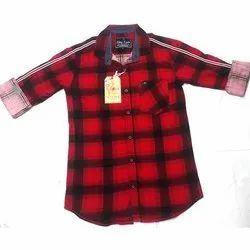 Collar Neck Mens Cotton Red Check Shirt