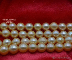 Round Golden Japan Culture Pearl Beads, Size: 7.5-8.5 Mm
