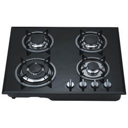 V Cook Black Four Burner Gas Stove