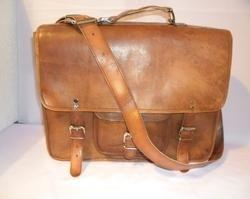 Brown Rustic Leather Briefcase Shoulder Bag