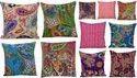 Paisley Printed Cotton Kantha Cushion Cover